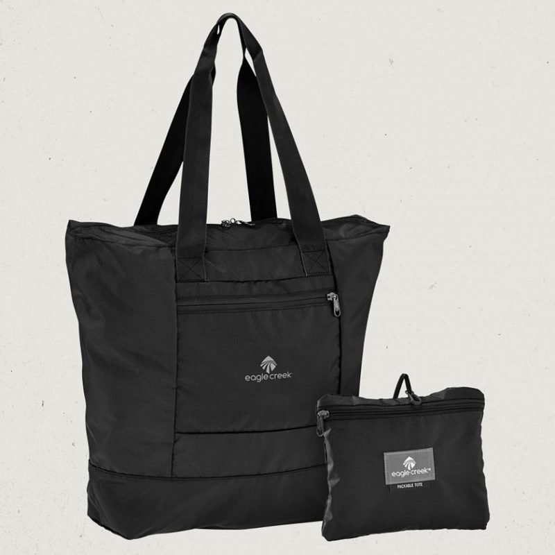 Eagle Creek Packable Tote kokoontaitettava kassi musta