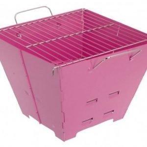Faltgrill kokoontaitettava Barbecue BBQ matkagrilli pinkki