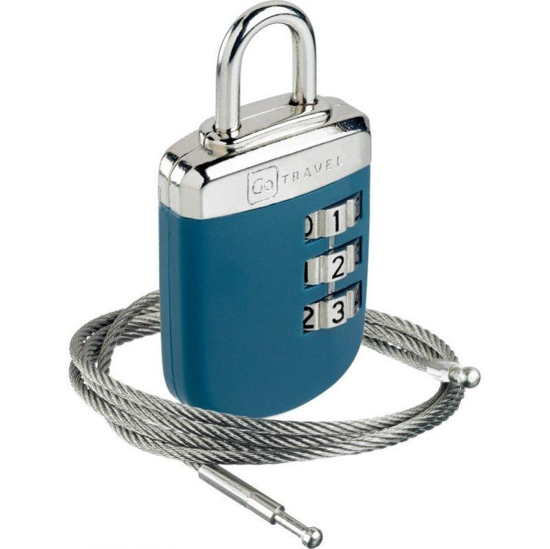 Go Travel Link-Lock vaijerilukko ja numerolukko sininen