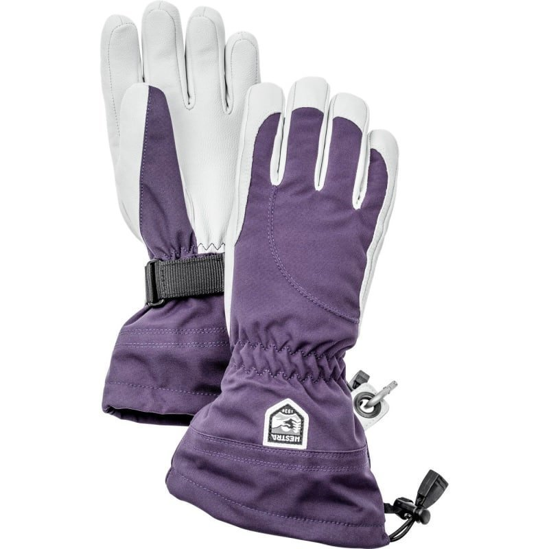 Hestra Heli Ski Female - 5 finger 6 Dark Plum/Offwhite
