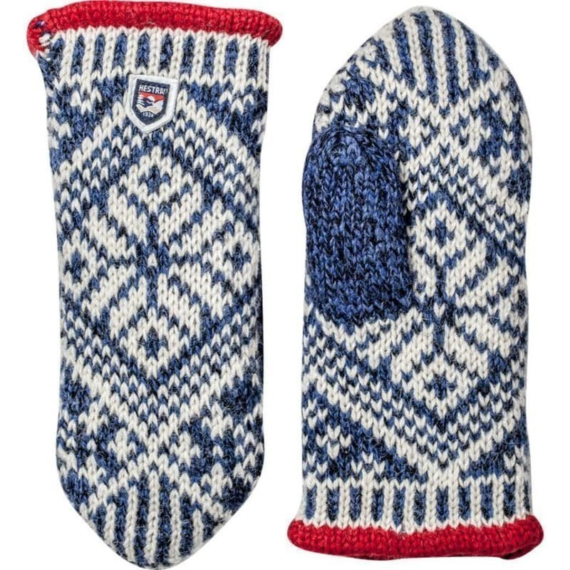 Hestra Nordic Wool Mitt 6 Mid Blue/Offwhite