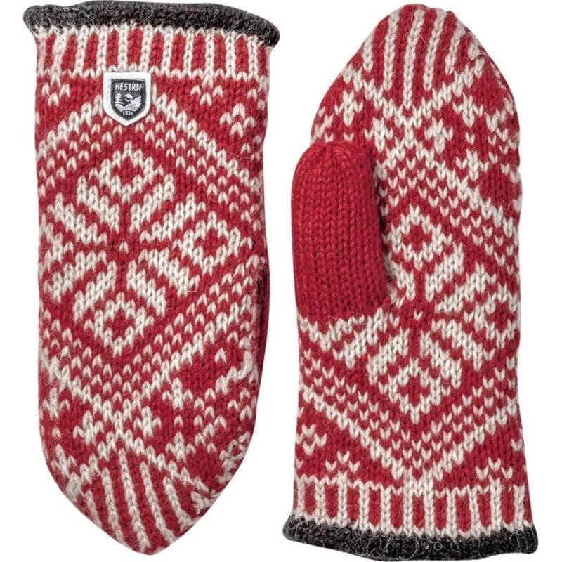 Hestra Nordic Wool Mitt 6 Red/Offwhite