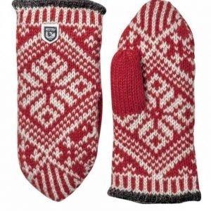 Hestra Nordic Wool Mitt rukkanen punainen/valkoinen