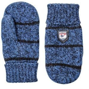 Hestra Striped Wool Jr Mitt sininen rukkanen