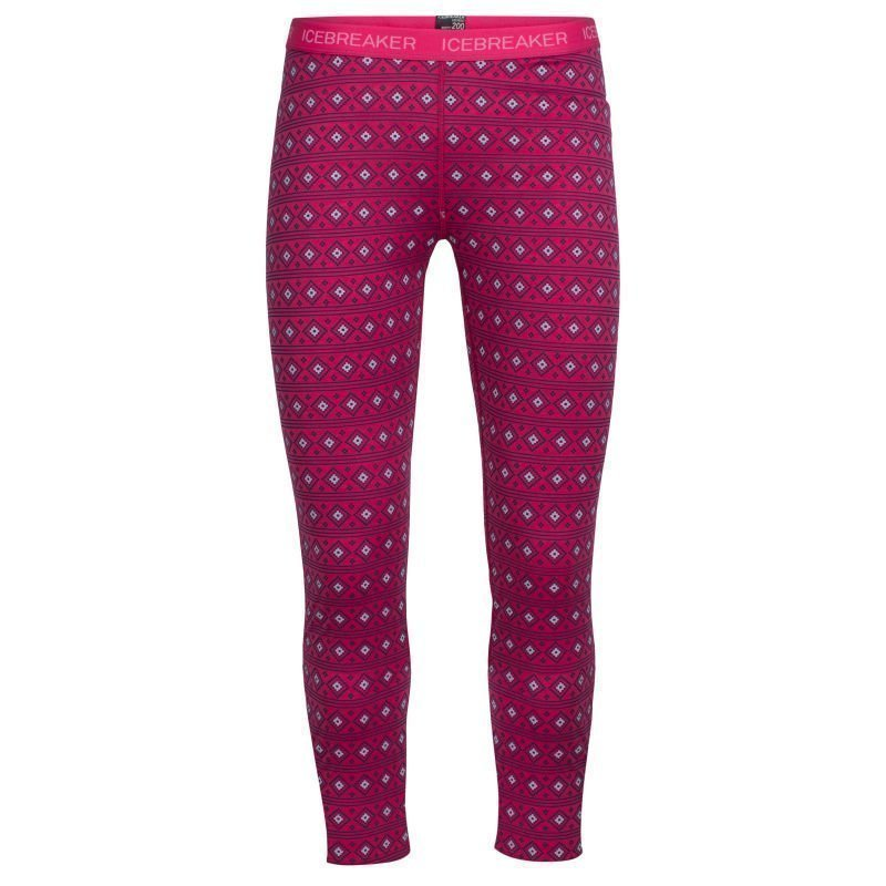 Icebreaker Kids Oasis Leggings Align 06 Pop Pink/Snow/White