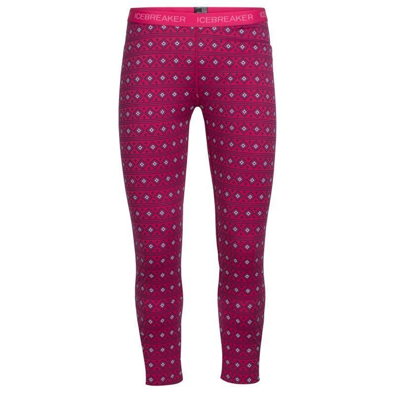 Icebreaker Kids Oasis Leggings Align 08 Pop Pink/Snow/White