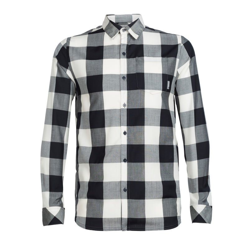 Icebreaker Men's Departure II LS Shirt Plaid M Stealth/Snow