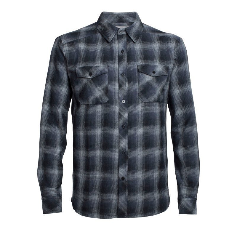 Icebreaker Men's Lodge LS Flannel Shirt M Metro HTHR/Stealth/Black