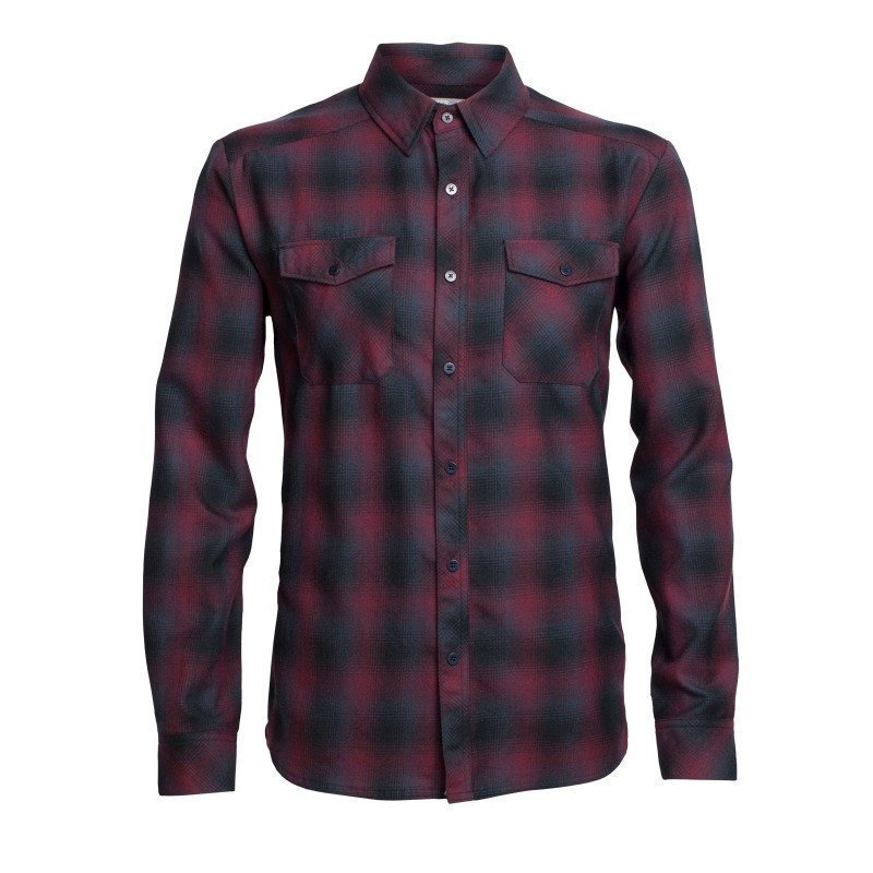 Icebreaker Men's Lodge LS Flannel Shirt M Redwood/Stealth/Black