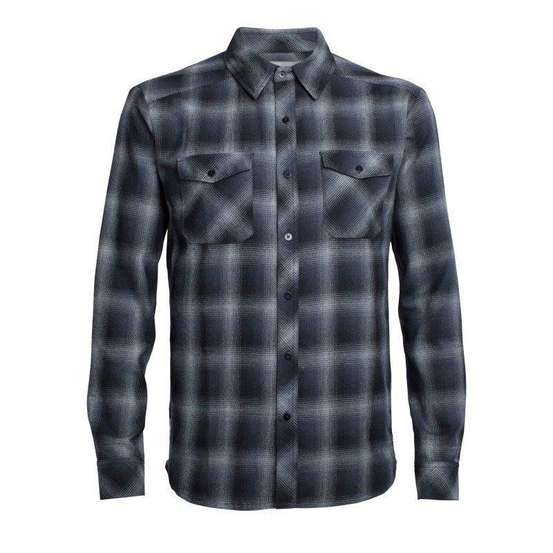 Icebreaker Men's Lodge LS Flannel Shirt XL Metro HTHR/Stealth/Black