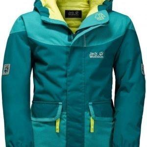 Jack Wolfskin Glacier Bay Jacket Girls Tummanvihreä 128