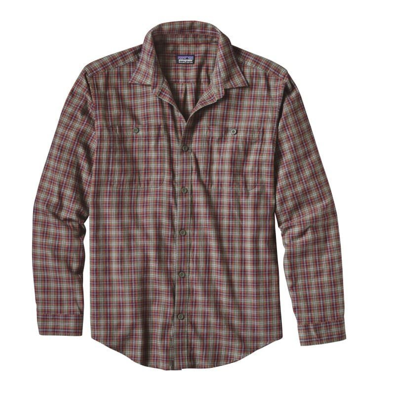Patagonia Men's L/S Pima Cotton Shirt L Leaf Lines: Industrial Green