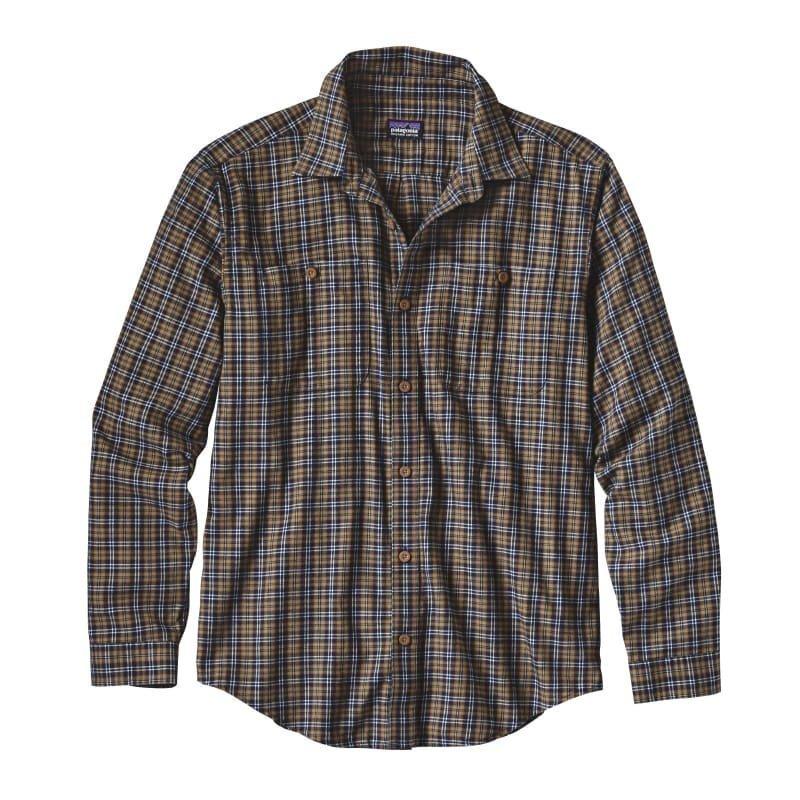 Patagonia Men's L/S Pima Cotton Shirt M Leaf Lines: Navy Blue