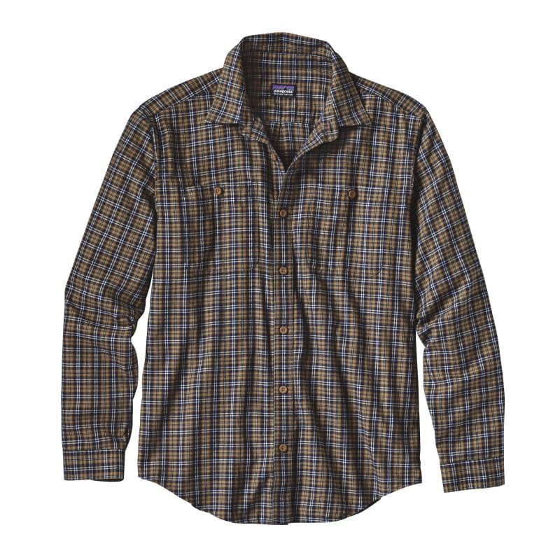 Patagonia Men's L/S Pima Cotton Shirt S Leaf Lines: Navy Blue