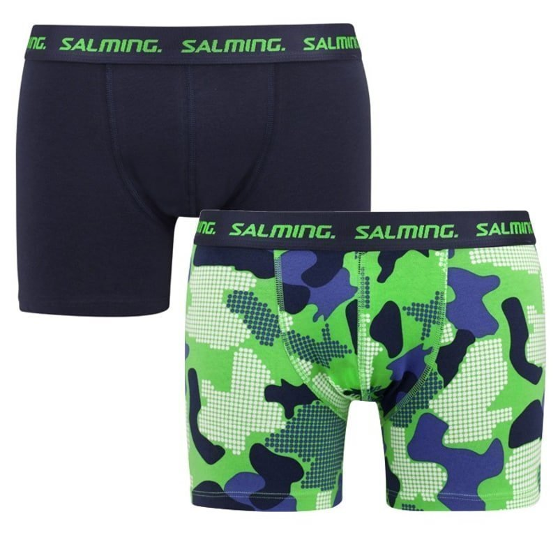 Salming Lansdowne boxer 2-pack M Solid Navy + Green/Blue
