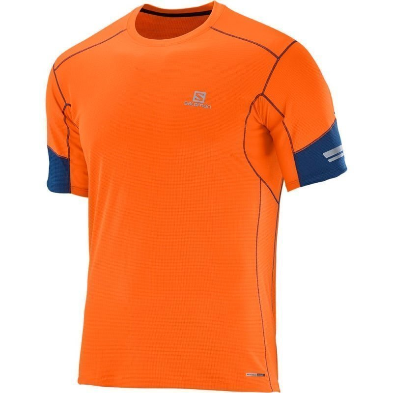 Salomon Agile Ss Tee Men's XL LAVA ORANGEBIG BLUE-X