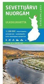 Sevettijärvi Nuorgam 1:100 000 ulkoilukartta 2014 taitettu