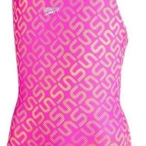 Speedo Monogram Allv Splashback girls swimsuit pink/orange