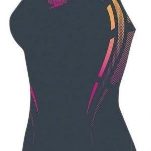 Speedo Placement Powerback naisten uimapuku harmaa/oranssi