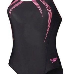Speedo Sports Logo Medalist Naisten uimapuku musta/pinkki