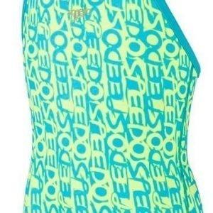 Speedo Text Allover Rippleback tyttöjen uimapuku sininen/keltainen