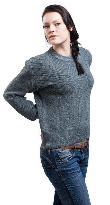 Sveitsiläinen villapaita harmaa ylijäämä tyttökuvalla