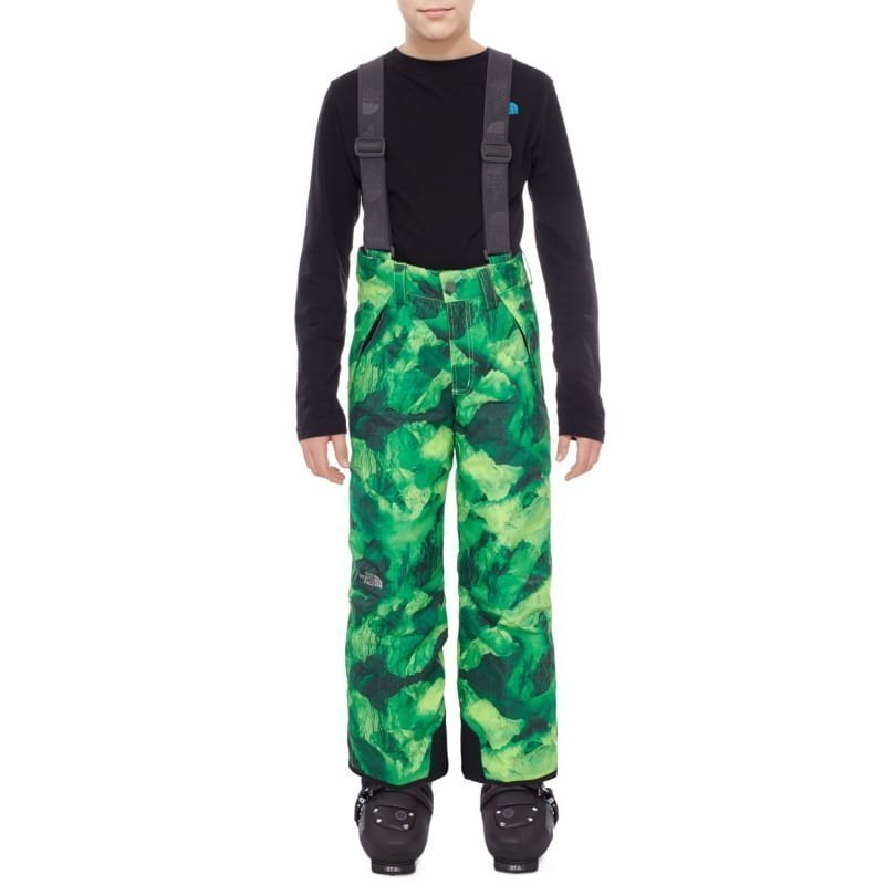 The North Face Boys Snowquest Suspender Pant S Safety Green Glacier Print