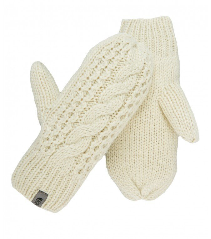 The North Face Cable knit mitts rukkaset valkoinen
