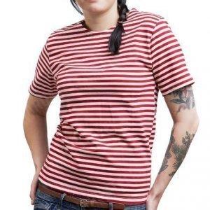 Venäläinen Telnyashka T-paita punaraitainen tyttökuvalla
