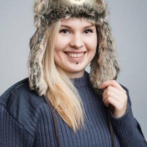 Venäläinen karvahattu neukkukokardilla tekokarva tyttökuvalla