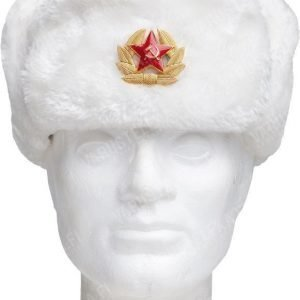 Venäläinen karvahattu neukkukokardilla valkoinen