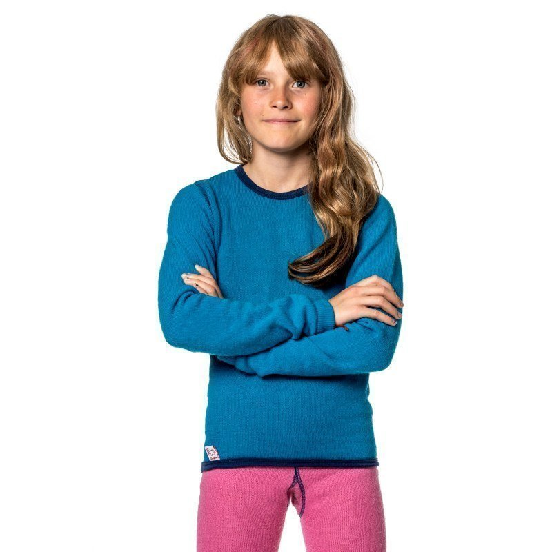 Woolpower Kids Crewneck 200 110-116 Dolphine Blue