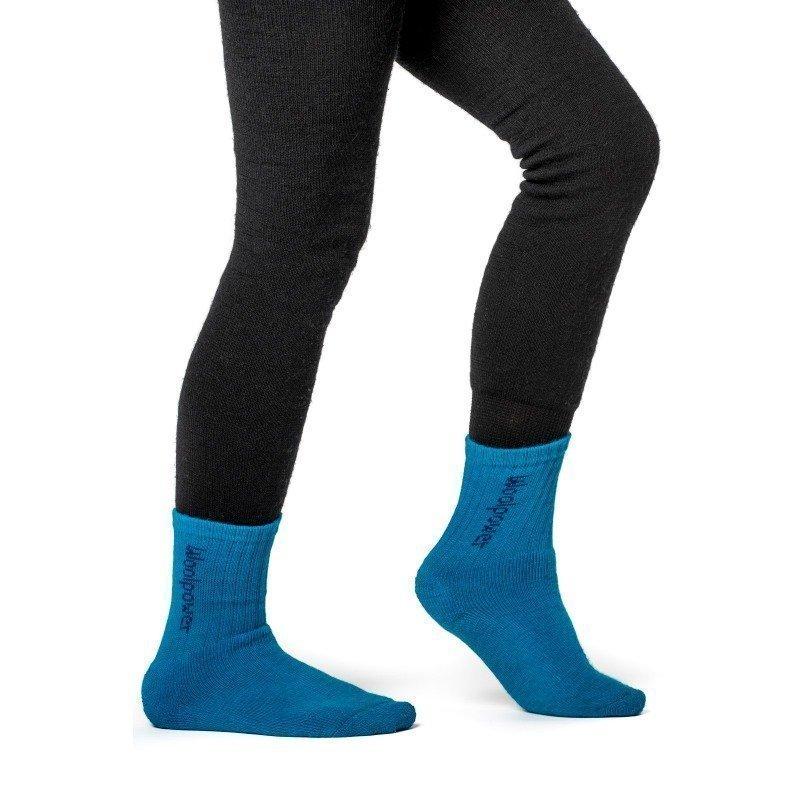 Woolpower Kids Socks Logo 400 21 Dolphine Blue