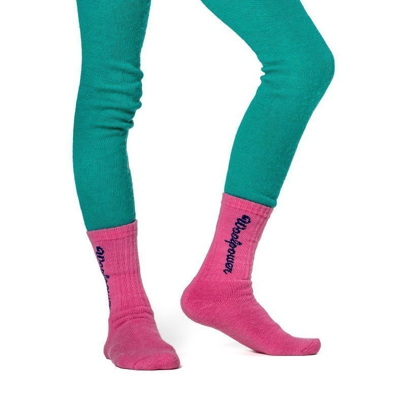 Woolpower Kids Socks Logo 400 21 Sea Star Rose