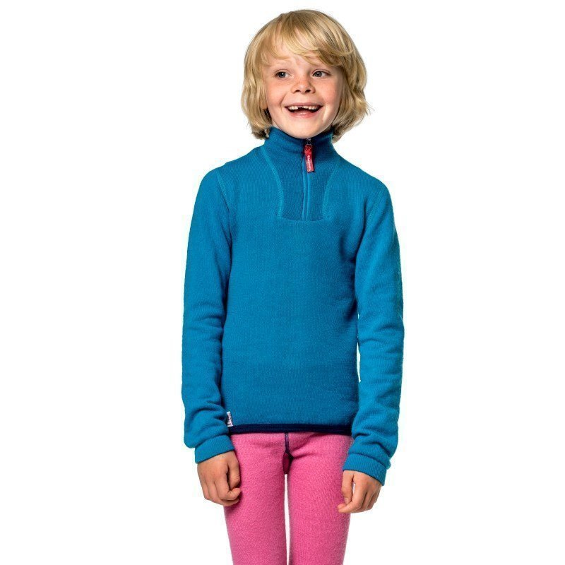 Woolpower Kids Zip Turtleneck 200 110-116 Dolphine Blue