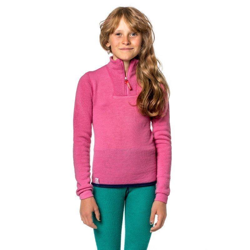 Woolpower Kids Zip Turtleneck 200 86-92 Sea Star Rose